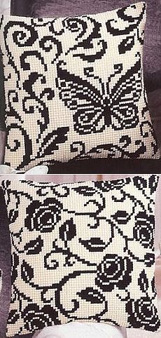 In black-and-white tones. \/ Embroidery \/ Embroidery cross