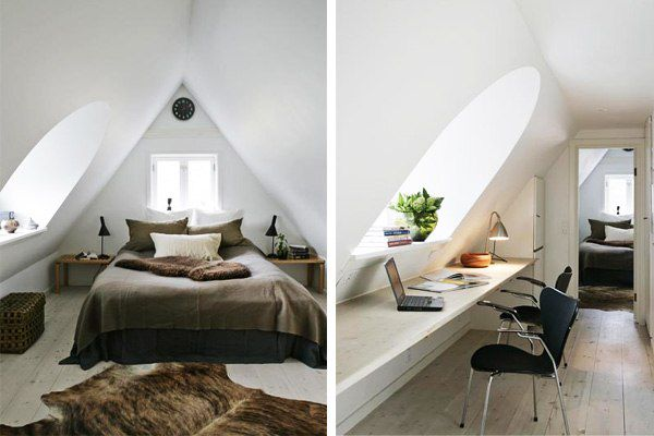 Ideas of rooms on an attic: a bedroom, a drawing room, kitchen, the nursery and a workplace | ALL FOR the HOUSE